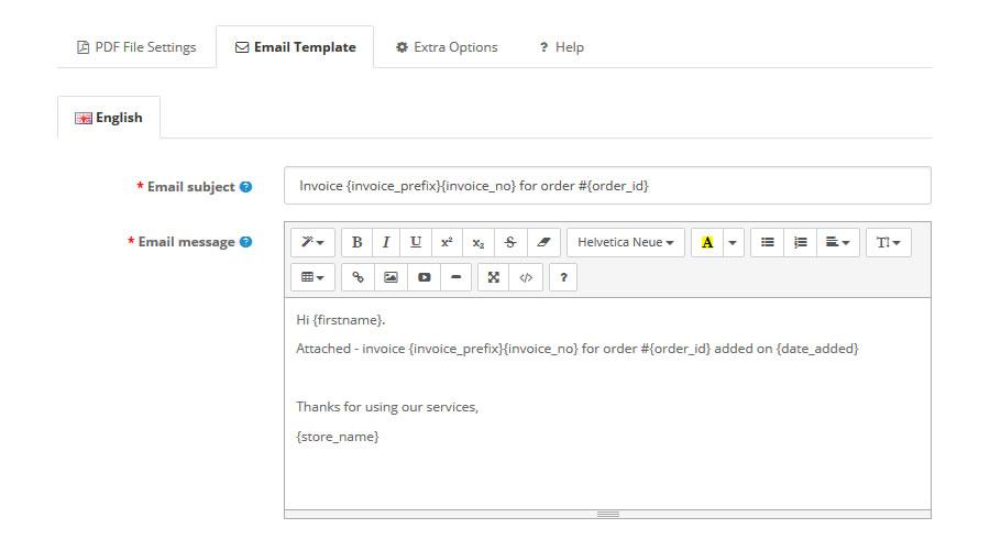 PDF Invoice (with autosend)