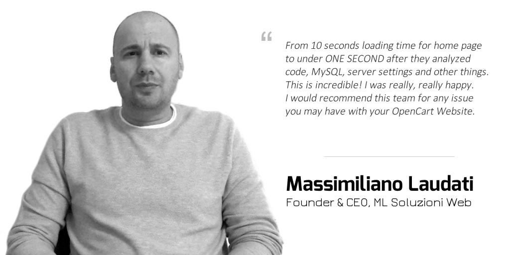 Massimiliano Laudati speaking about our Speed Optimization Service (TTFB)